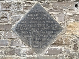 Plaque dated 1707 St. Mary's church, Leixlip.